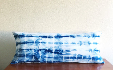 shibori lumbar pillow cover, indigo boho lumbar pillow, 14x36 shibori lumbar cushion cover, long blue bed pillow, hand dyed lumbar pillow