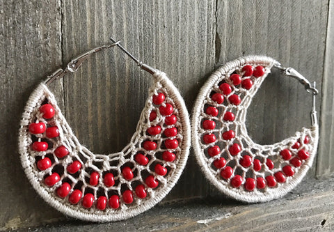 Cream and red beads earrings, natural hippie jewelry, woven hoop earrings, boho earrings, red bead earrings, red and cream woven earrings