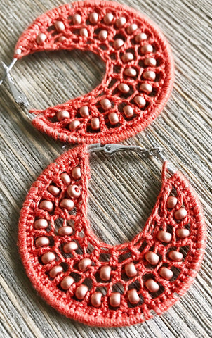 Rust and bronze beads earrings, rustic hippie jewelry, woven hoop earrings, boho earrings, bronze bead earrings, orange woven bead earrings
