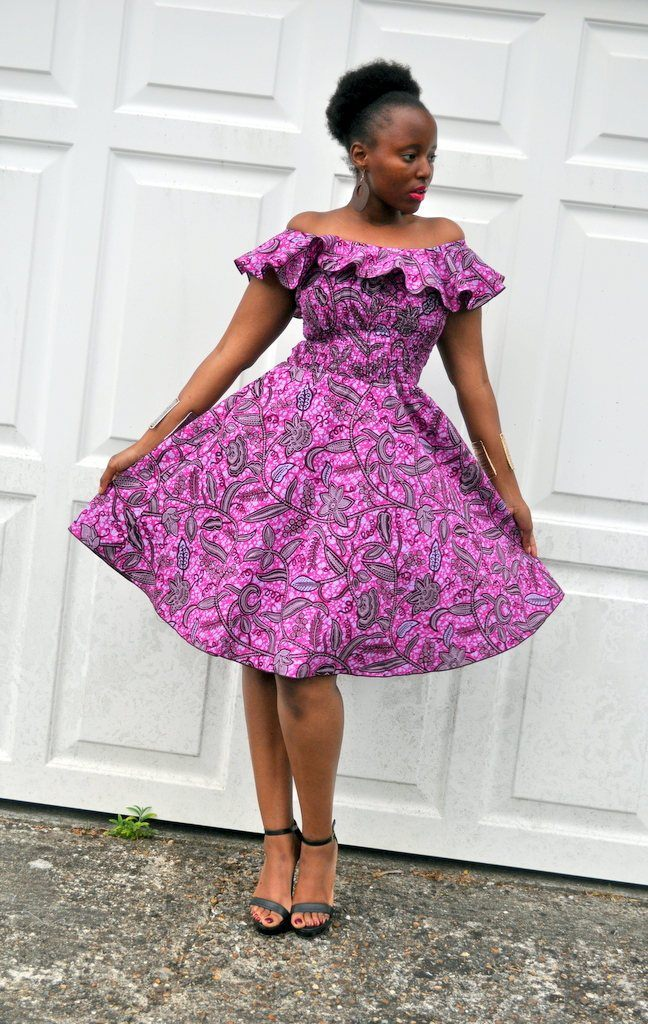 BALMA Purple Dress in A Bold Floral Print by House of Afrika - Jewel and Lotus
