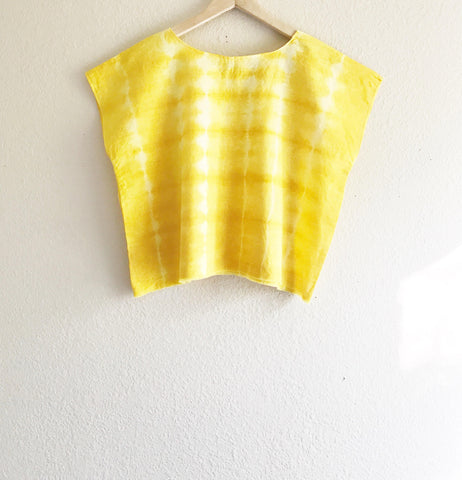 Turmeric shibori dyed women's top, golden yellow geometric linen crop top, relaxed fit hand dyed boxy crop top, ethically made yellow tunic