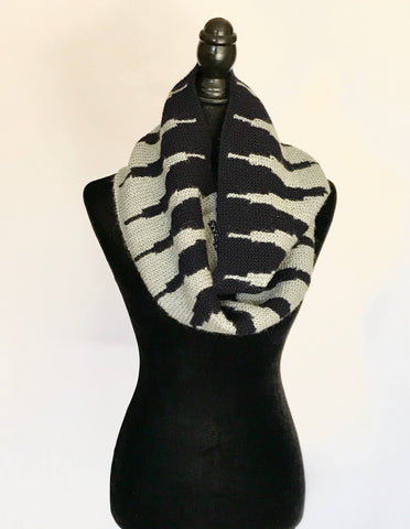 Grey + Navy Infinity Scarf // Wrap // Neck Warmer // Winter Accessories // Tribal Print // Fair Trade // Handmade // Limited Quantity by Made With a Purpose - Jewel and Lotus
