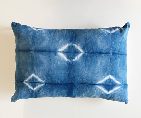 "Shibori indigo blue Pillow Cover 14""x20""