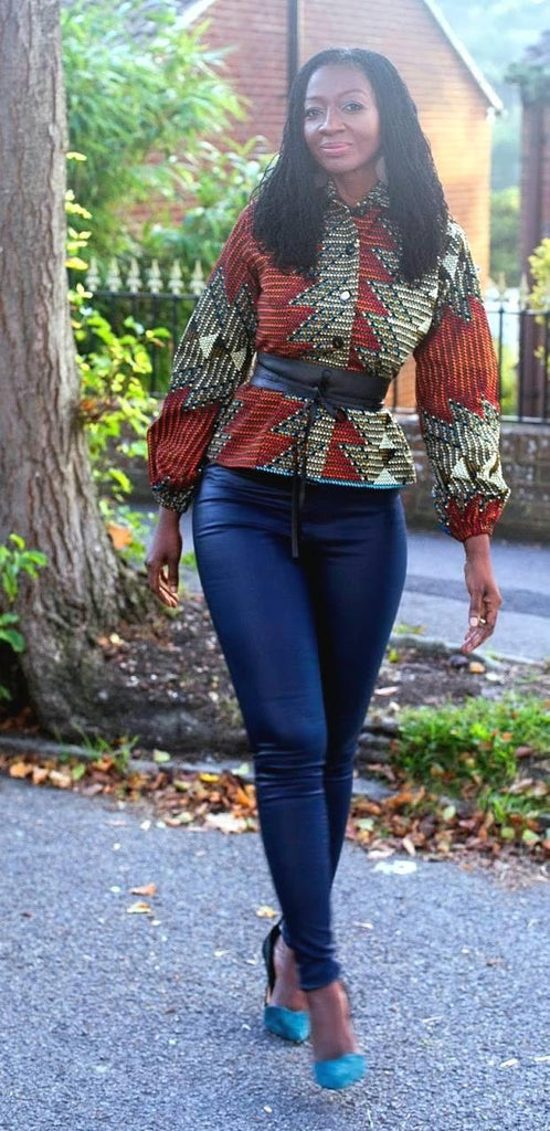 African Print in an Aztec Print Top/Blouse/Jacket by House of Afrika - Jewel and Lotus