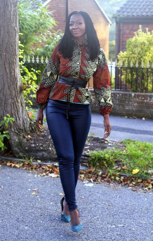 African Print in an Aztec Print Top/Blouse/Jacket With Faux Leather Belt by House of Afrika - Jewel and Lotus