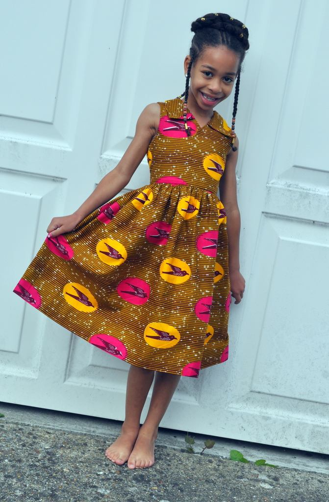 Bird Print Dress with Collar by House of Afrika - Jewel and Lotus