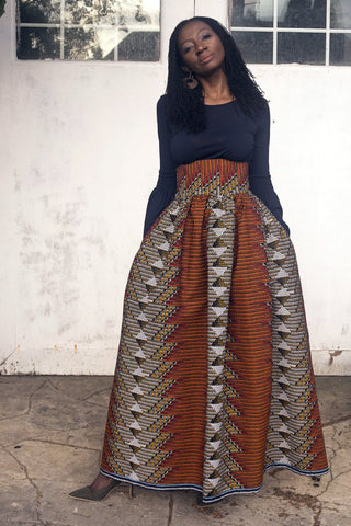 Maxi Skirt in Aztec African print by House of Afrika - Jewel and Lotus