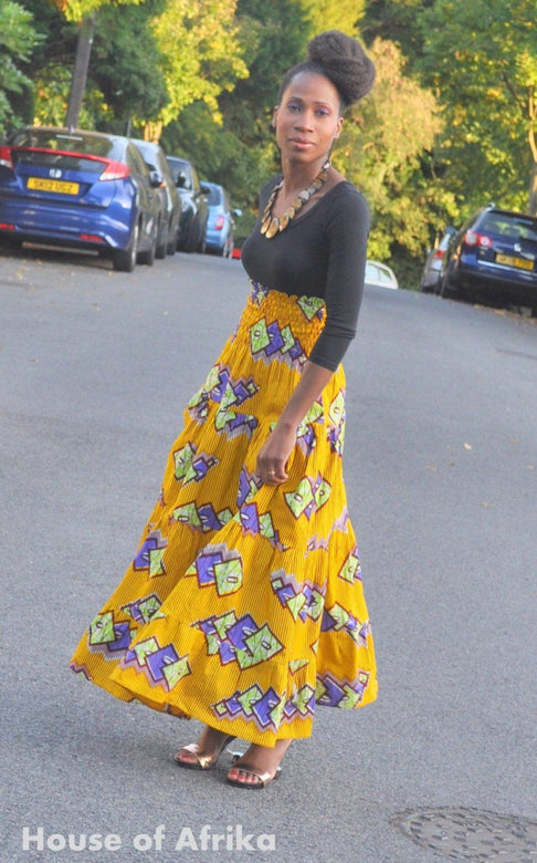 African print maxi skirt in mustard tones. by House of Afrika - Jewel and Lotus