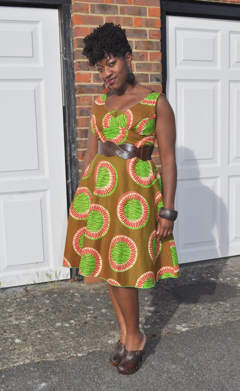 African Print Mustard and Green Dress by House of Afrika - Jewel and Lotus