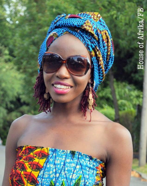 African Print Head Wrap by House of Afrika - Jewel and Lotus