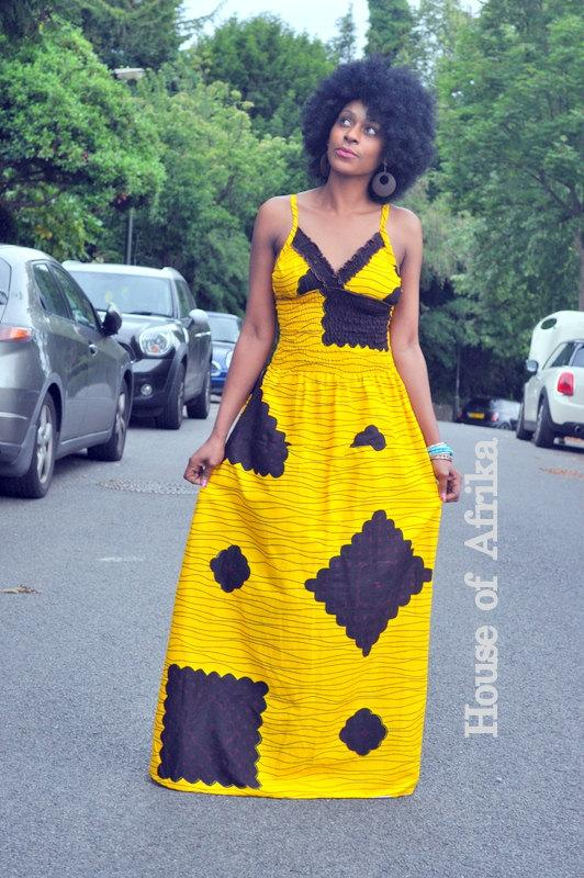 African Print Yellow Maxi Dress with Back Tie by House of Afrika - Jewel and Lotus