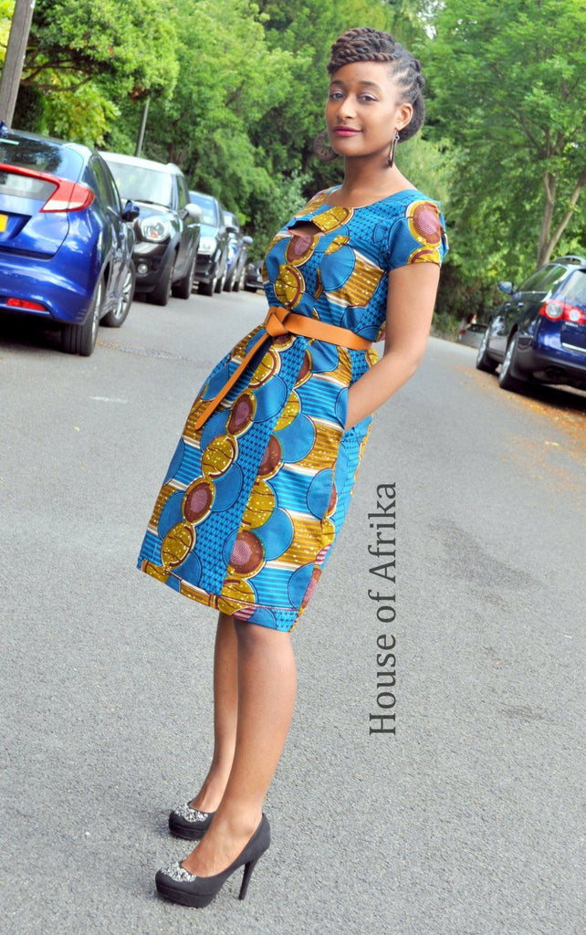 African Print Dress with Cut Out Chest by House of Afrika - Jewel and Lotus