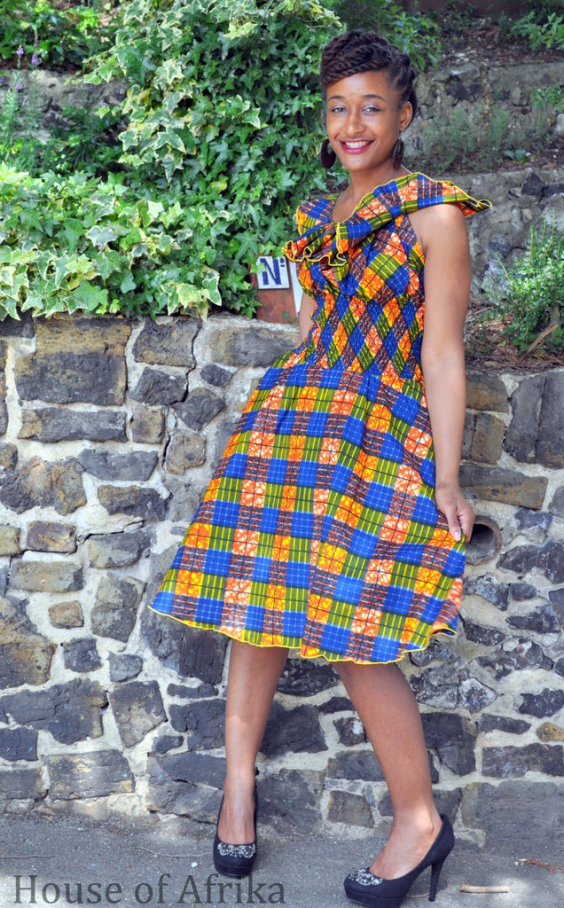 African Print Wide Collar Dress by House of Afrika - Jewel and Lotus