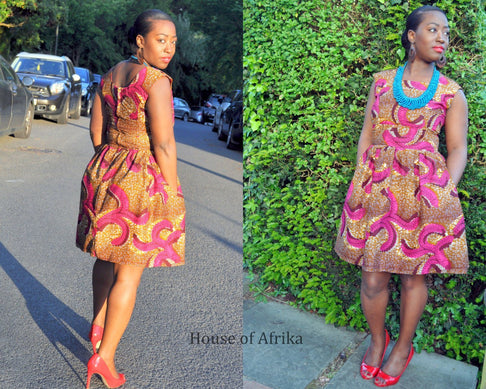 African Print Full Skirt Dress by House of Afrika - Jewel and Lotus