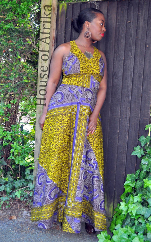 African Print Skater Back Maxi Dress by House of Afrika - Jewel and Lotus
