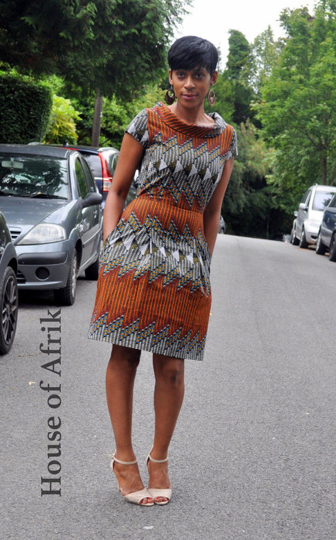 African Print High Collar Dress by House of Afrika - Jewel and Lotus