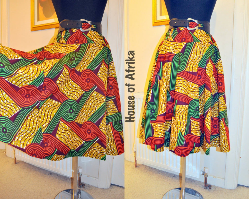 African Print Circle Skirt by House of Afrika - Jewel and Lotus