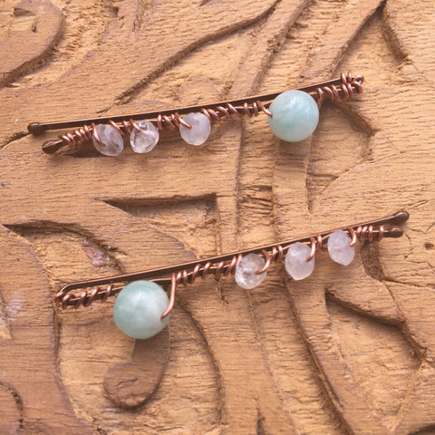 Aquamarine, Moonstone, Copper, Hairpins