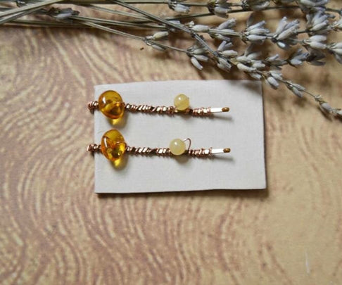 Baltic Amber & Yellow Onyx Copper Wire Wrapped Hairpins by Gem & Wander - Jewel and Lotus