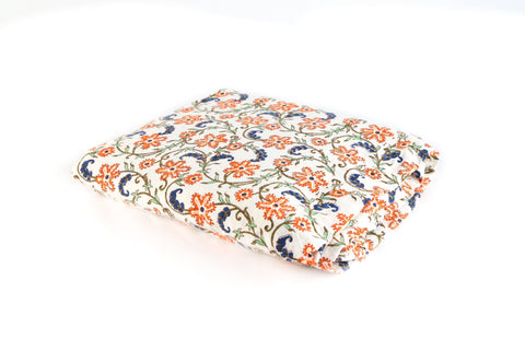 Fitted Bed sheet: Red and blue flower