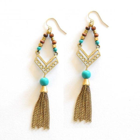 Bohemian Turquoise Earrings by The Didi Jewelry Project - Jewel and Lotus