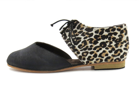 Amahle Mary-Jane In Diesel Black / Cheetah Print by Matsidiso - Jewel and Lotus