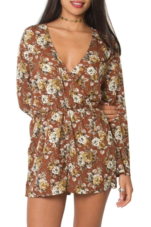 Belle Âme Floral Jumpsuit | Brown
