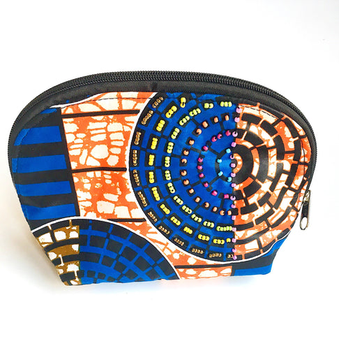 Beaded Makeup Pouch by Zuri Collection - Jewel and Lotus