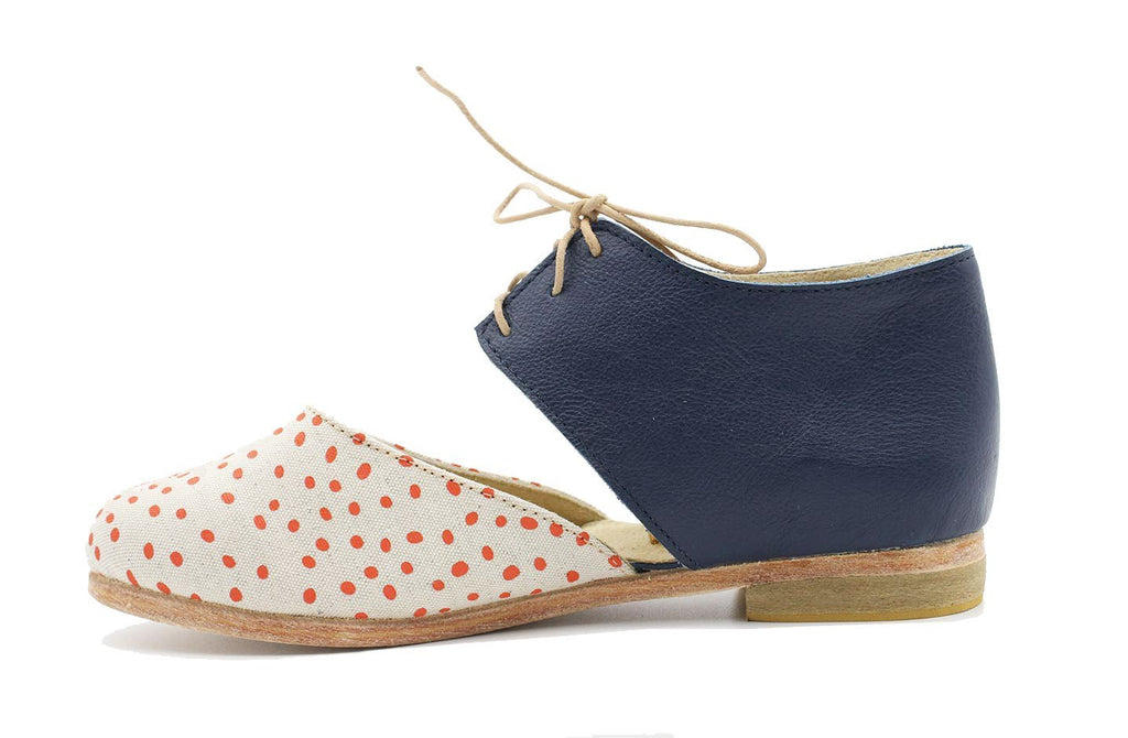 Amahle Mary-Jane In Orange Dots / Navy by Matsidiso - Jewel and Lotus
