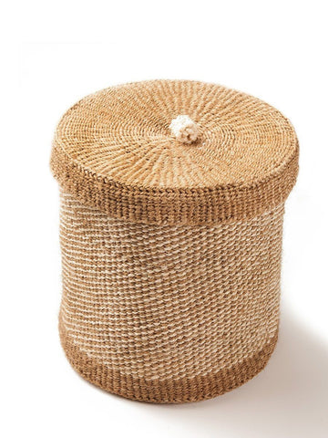 Large Woven Lidded Basket by Jimani Collections - Jewel and Lotus