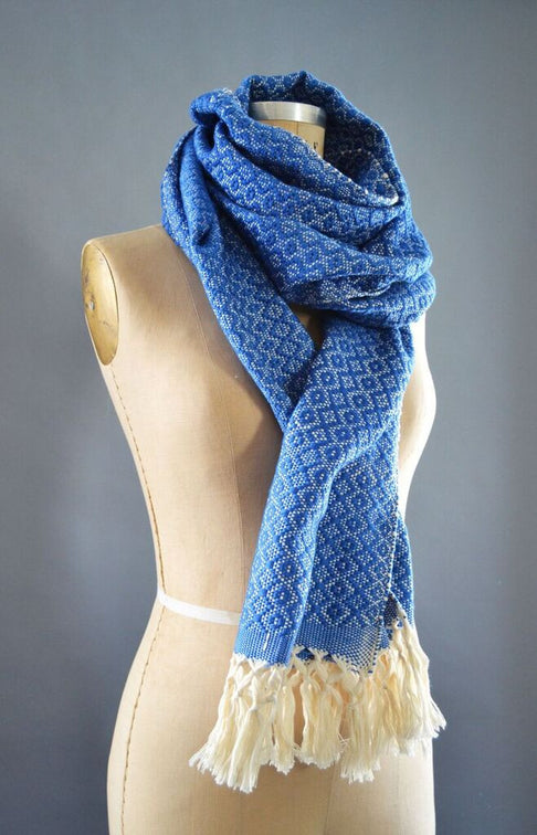 Blue Diamonds Scarf by Batan Ecos - Jewel and Lotus
