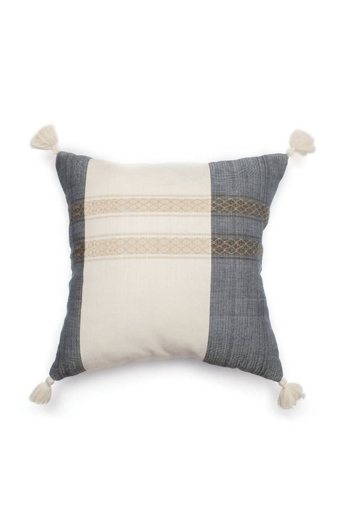 Black Stripe Tassel Pillow