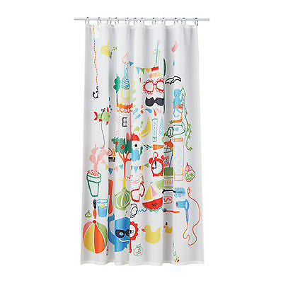 IKEA BADBCK Badback White Shower Curtain With Kids Beach Design 180x180cm