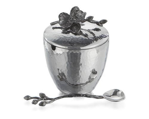 BLACK ORCHID MINI POT W/SPOON - La Perla Home in Montrose CA