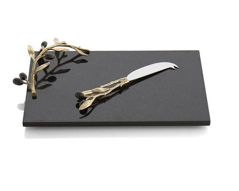 Olive Branch Gold Cheese Board & Knife - La Perla Home in Montrose CA