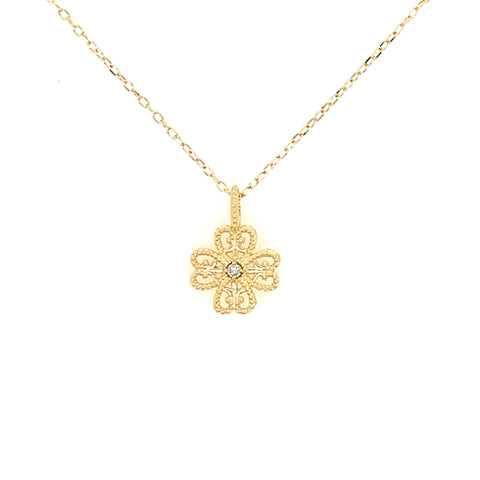 18KT Gold Clover Necklace w/ Diamond Stud