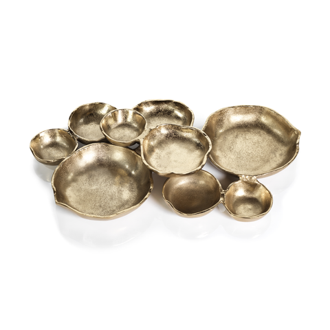 Cluster of Nine Round Serving Bowls - Dark Gold