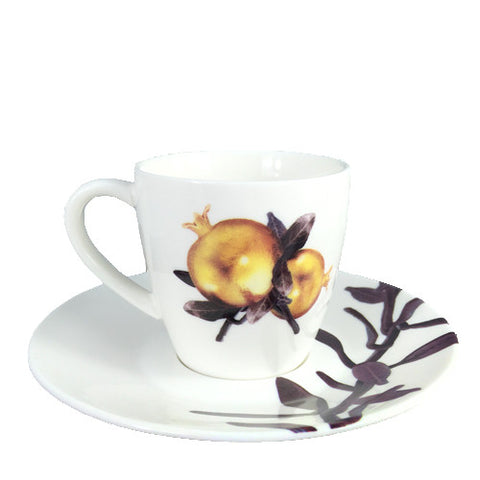 Armenian Pomegranate Coffee Cups with Saucers - La Perla Home in Montrose CA