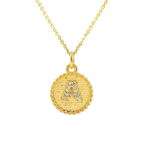 English Initial Modern Necklace - Silver Gold Plated - La Perla Home in Montrose CA