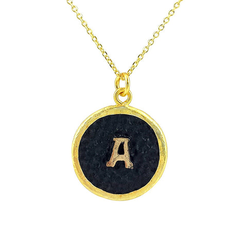 English Initial Vintage Necklace - Black Gold - La Perla Home in Montrose CA