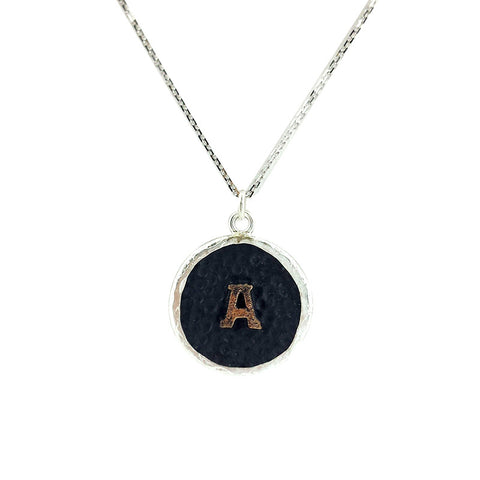 English Initial Vintage Necklace - Black Silver - La Perla Home in Montrose CA