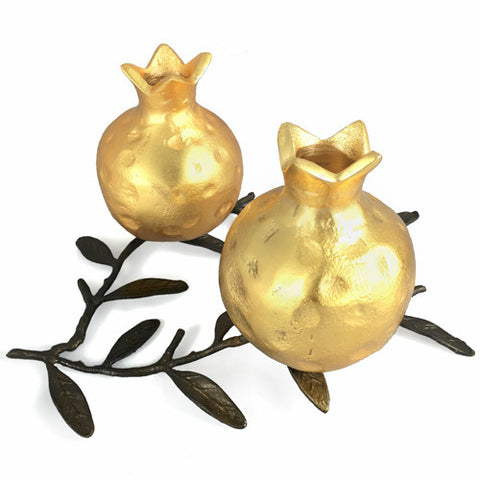 Armenian Double Pomegranate Gold Color Candle Holder on a Branch - La Perla Home in Montrose CA