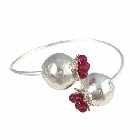 Armenian Double Pomegranate Bangle Plated in White Gold - La Perla Home in Montrose CA