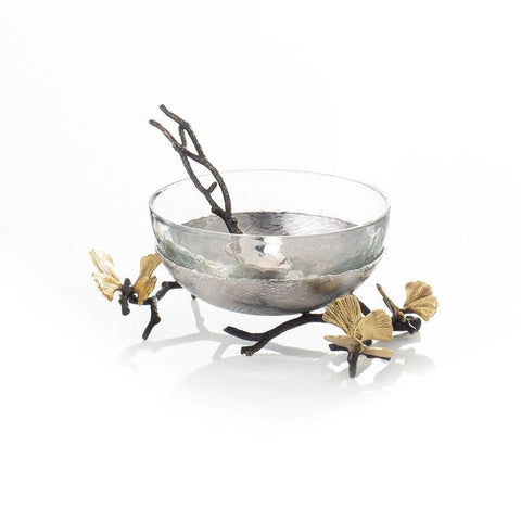 Butterfly Ginkgo Glass Nut Dish w/ Spoon