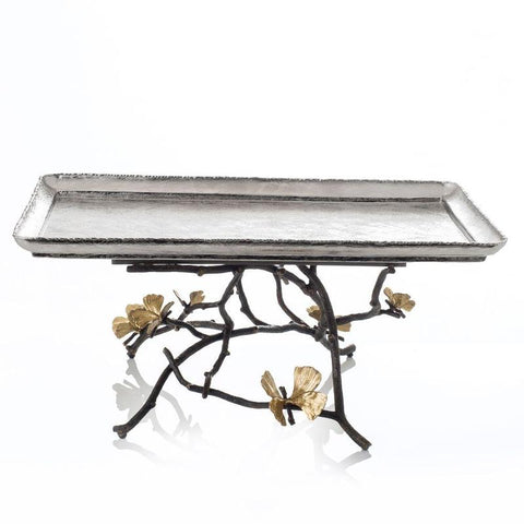 Butterfly Ginkgo Large Footed Centerpiece Tray