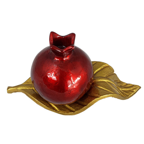 Pomegranate Candle Holder on a Leaf - Gold - La Perla Home in Montrose CA