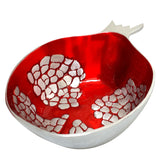 Pomegranate Salad Bowl - Red/Silver - La Perla Home in Montrose CA