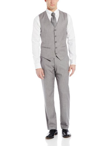 Perry Ellis Men's Linen Five Button Texture Vest, Brushed Nickel, X-Large