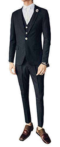 WSPLYSPJY Mens Business Long Sleeve Stripes One Button Suit Blazers + Slim Fit Pant Vest 3 Pice Set Black XS