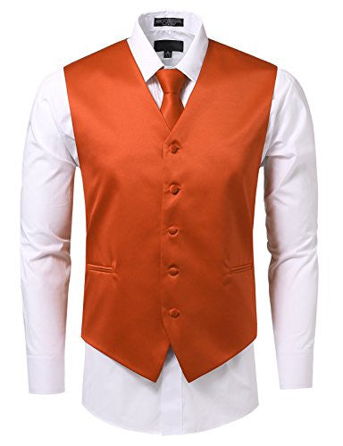 JD Apparel Men's 3 Pieces Tie Solid Formal Tuxedo Vest Tie 2XLarge Orange